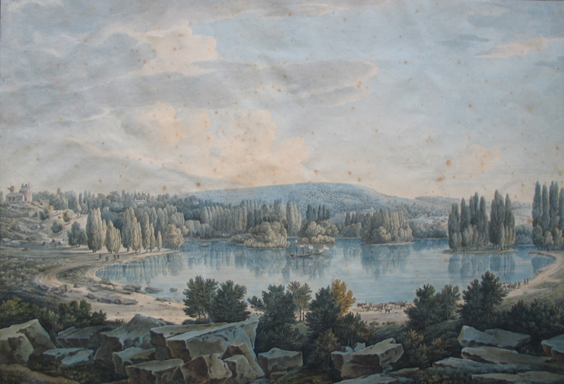 Louis-François CASSAS - Le lac et le grand rocher de Mortefontaine